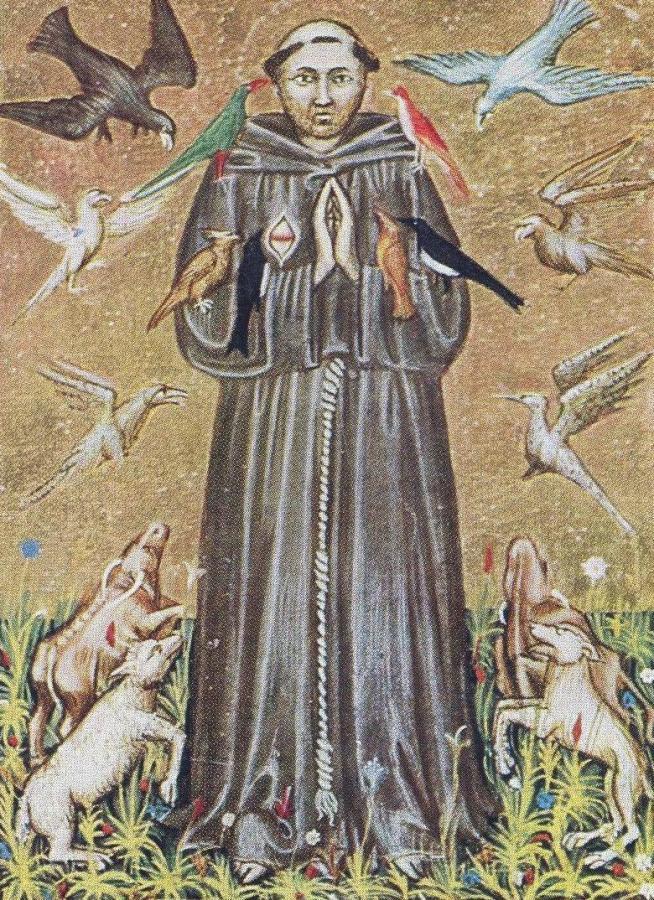 Франциск_Ассизский_(миниатюра 14 век,нац библ. Рим)